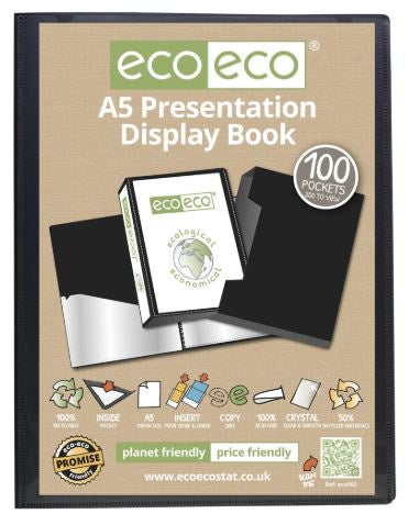 5060454450658 [eco065] [QX01] Presentation Display Book and Box ECO - A5/100pgs/200viewing - Black RRP Euro 10.95 [F]
