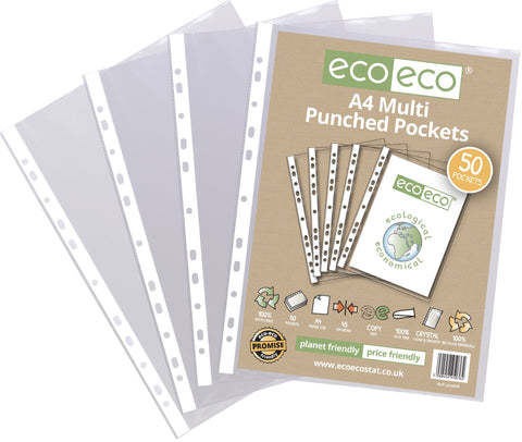 Multi Punched Pockets A4 ECO - Standard/Pkt x 50 sleeves