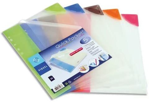 File Punched Tidy A4 - Quick Pocket/Assorted Colours