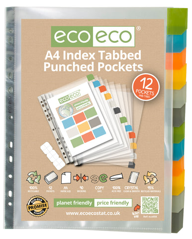 Multi Punched Pockets A4 ECO Index Tabbed - Premier/Set x 12