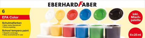 FC - Tempera/Poster Colours - Pack x 6 tubs x 25ml/Basic Cols