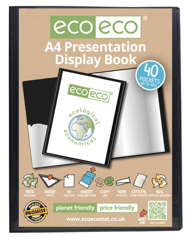 Presentation Display Book A4 ECO - 40pgs/80 viewing - Black