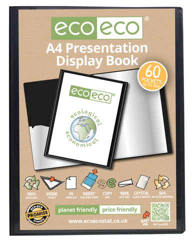 Presentation Display Book A4 ECO - 60pgs/120 viewing - Black