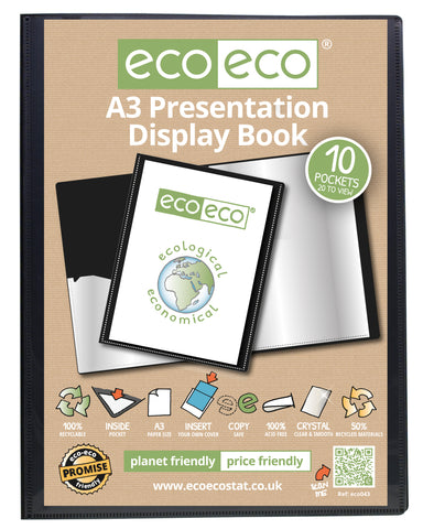 Presentation Display Book A3 ECO - 10pgs/20 viewing - Black