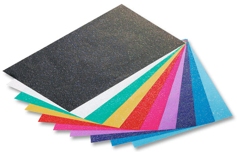 Glitter Paper 23 x 33 - 70gsm/Pkt x 10 Assorted Colours