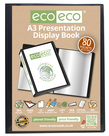 Presentation Display Book A3 ECO - 80pgs/160 viewing - Black
