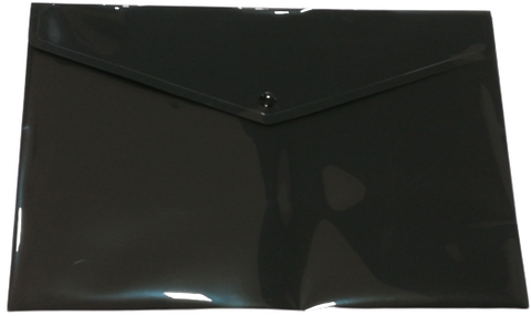 Plastic Envelope File With Button A4 ECO - Black