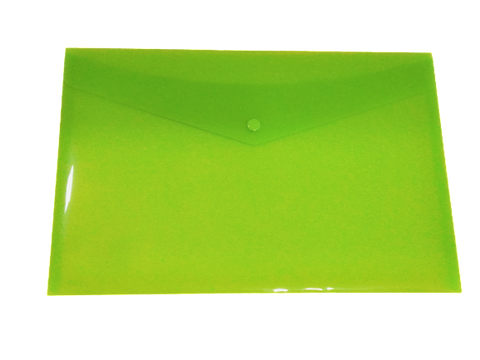 Plastic Envelope File With Button A5 ECO - Green