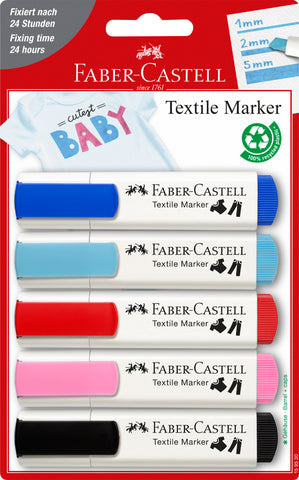 Textile Markers - Blister Card x 5 Baby Party Colours