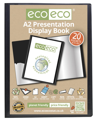 Presentation Display Book A2 ECO - 20pgs/40 viewing - Black