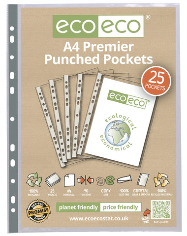 Multi Punched Pockets A4 ECO - Premier/Pkt x 25sleeves