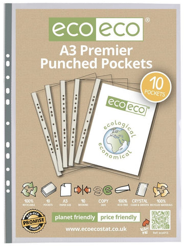 Multi Punched Pockets A3 ECO - Premier/Bag x 10 sleeves Clear