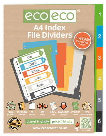 Dividers A4 Standard ECO - Set x 6 Numbers