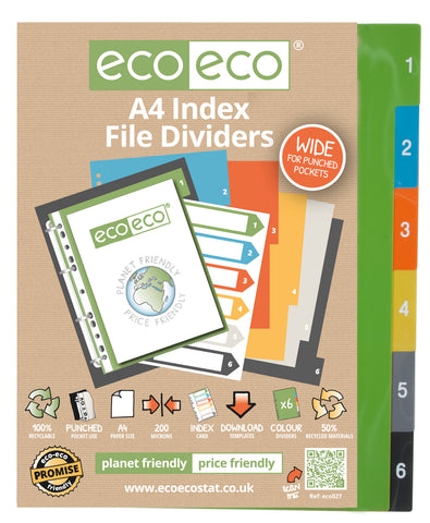 Dividers A4 Wide ECO - Set x 6 Numbers