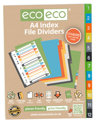 Dividers A4 Standard ECO - Set x 12 Numbers