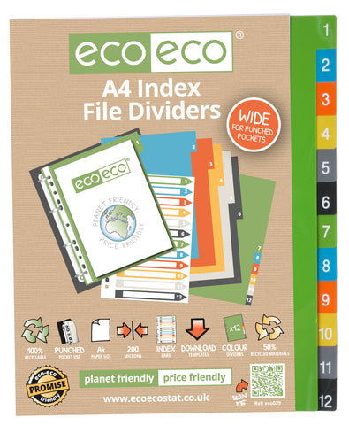Dividers A4 Wide ECO - Set x 12 Numbers