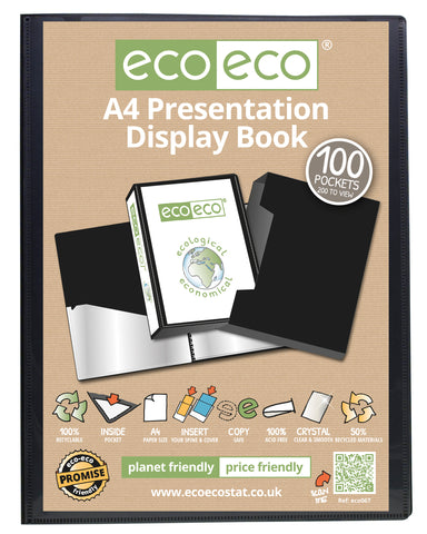 Presentation Display Book A4 Eco - 100pgs/200viewing - Black