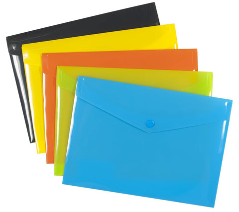Plastic Envelope File With Button A6 ECO - Assorted Colours