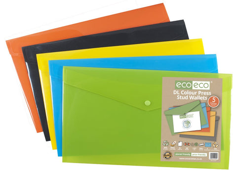 Plastic Envelope File With Button DL ECO - Assorted Colours