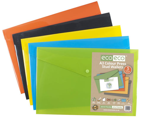Plastic Envelope File With Button A3 ECO - Assorted Colours