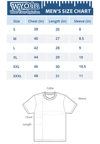 Men's round neck t-shirt size chart
