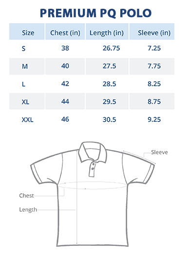 Men Polo Collar T-Shirt Size Chart