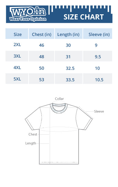 Women round neck t-shirt size chart