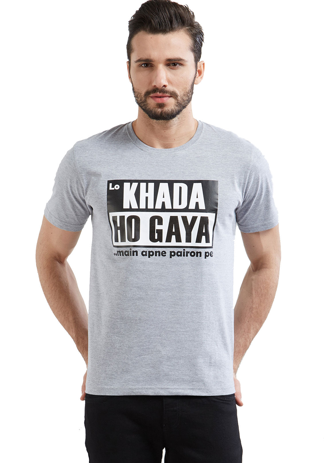42ad4e5257bc Buy Graphic Tees   Printed T Shirts with funny quote Lo Khada Ho Gaya –  Wear Your Opinion - WYO.in
