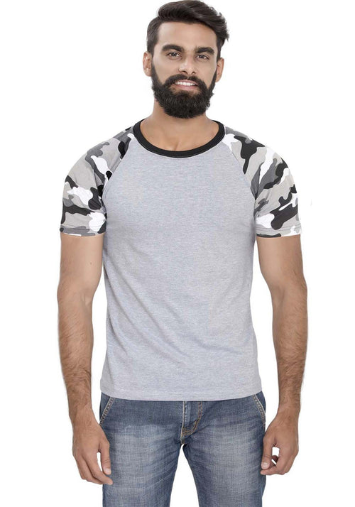 White Camo - Grey Raglan T-Shirt