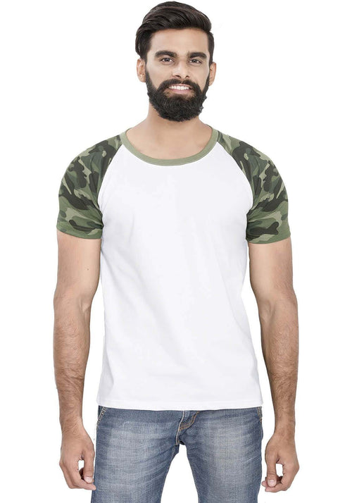 Green Camo - White Raglan T-Shirt