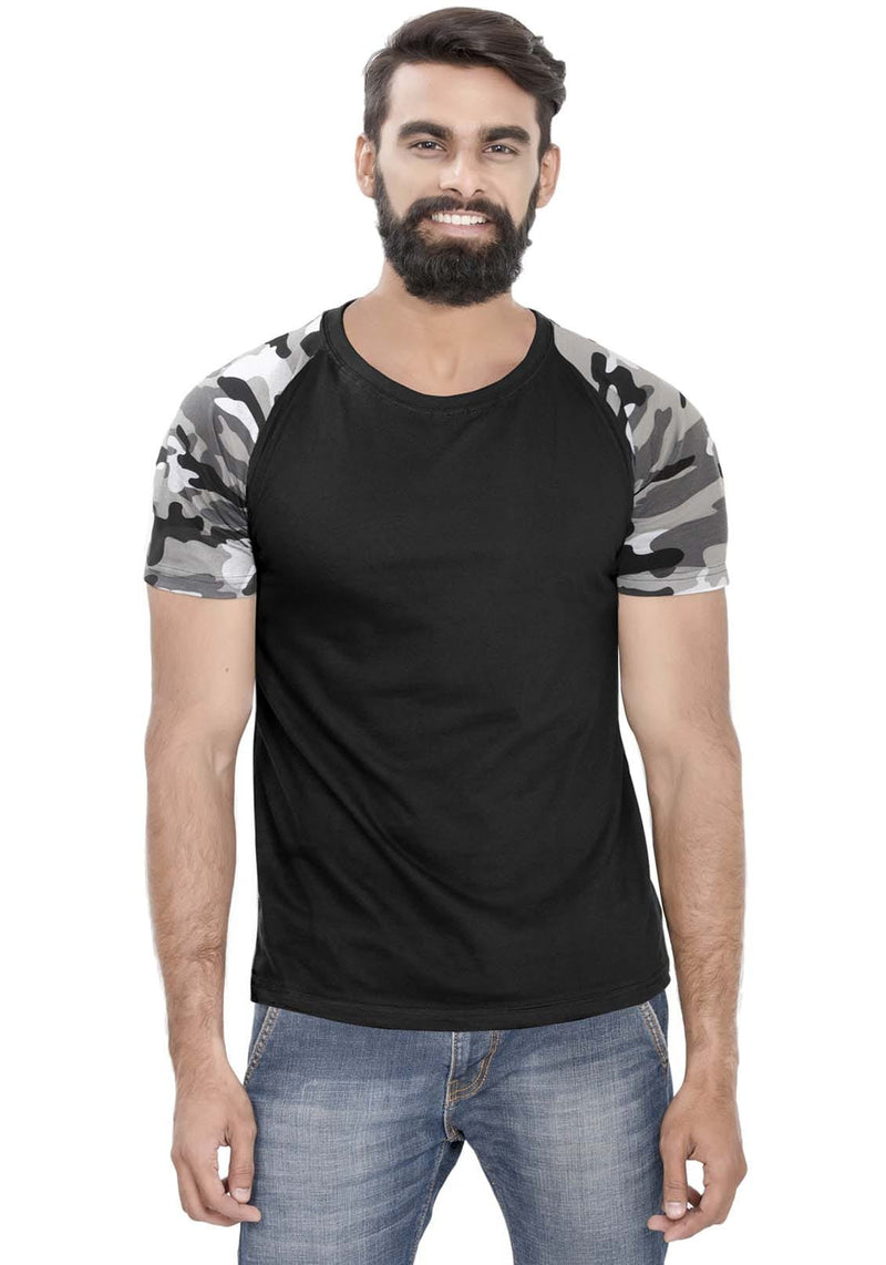 White Camo - Black Raglan T-Shirt