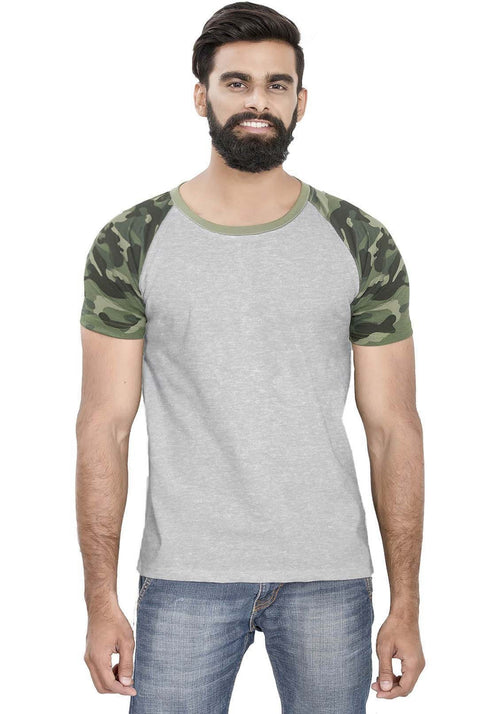 Green Camo - Grey Raglan T-Shirt