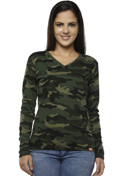 Women Full Sleeve V Neck - Green Camo