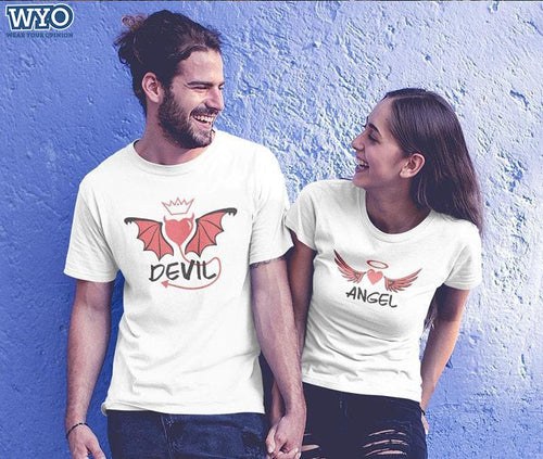 Angel And Devil Couple Tees