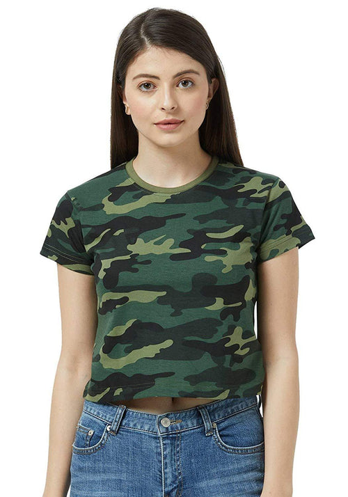 Crop Top - Green Camo