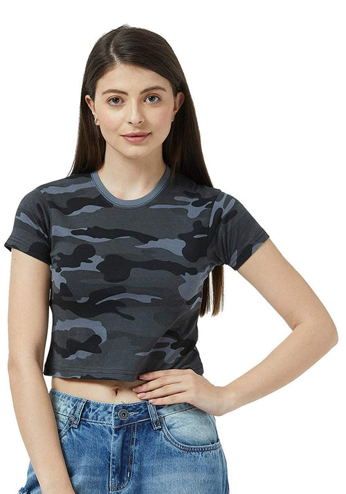 Crop Top - Grey Camo