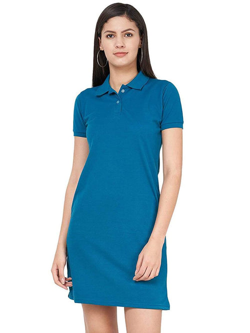 Polo Dress - Teal Blue