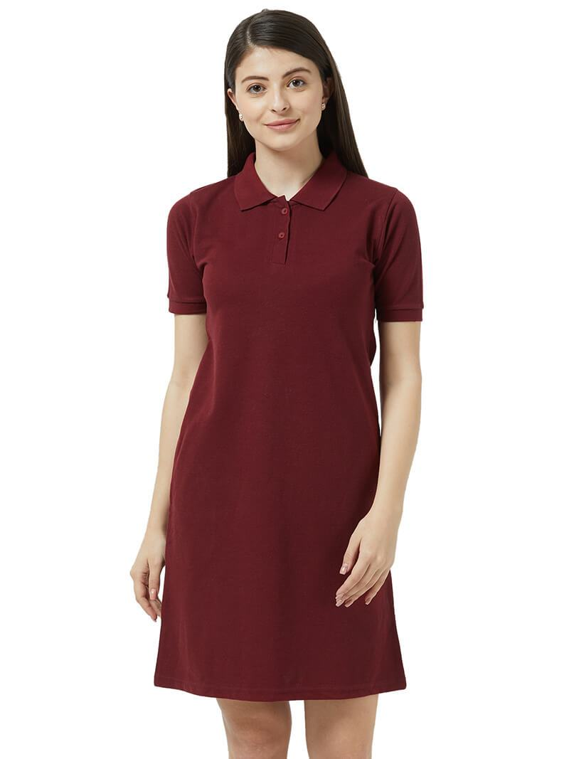 Polo Dress - Wine
