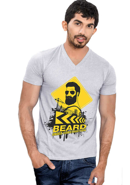Beard Construction V Neck T-Shirt - Wear Your Opinion - WYO.in  - 2
