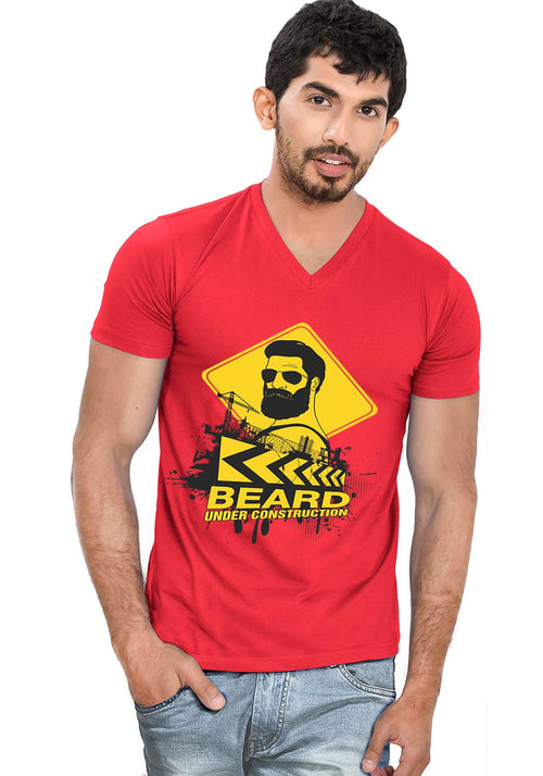 Beard Construction V Neck T-Shirt - Wear Your Opinion - WYO.in  - 1