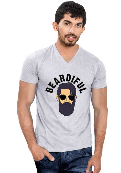 Beardiful V Neck T-Shirt - Wear Your Opinion - WYO.in  - 1