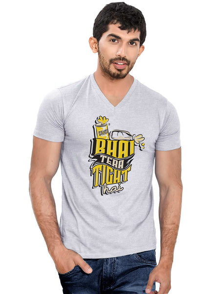 Bhai Tight Hai V Neck T-Shirt - Wear Your Opinion - WYO.in  - 1