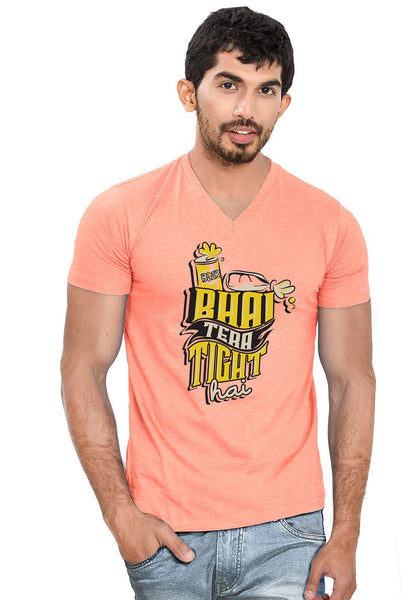 Bhai Tight Hai V Neck T-Shirt - Wear Your Opinion - WYO.in  - 2