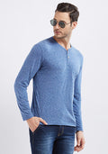 Naps Yarn Full Sleeve Henley - Blue
