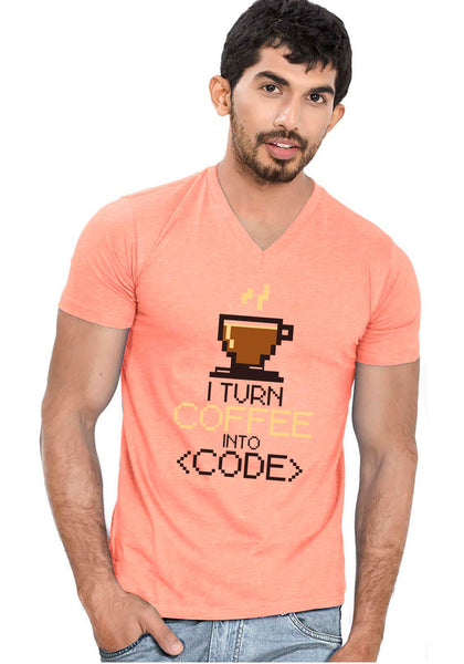 Coffee Code V Neck T-Shirt