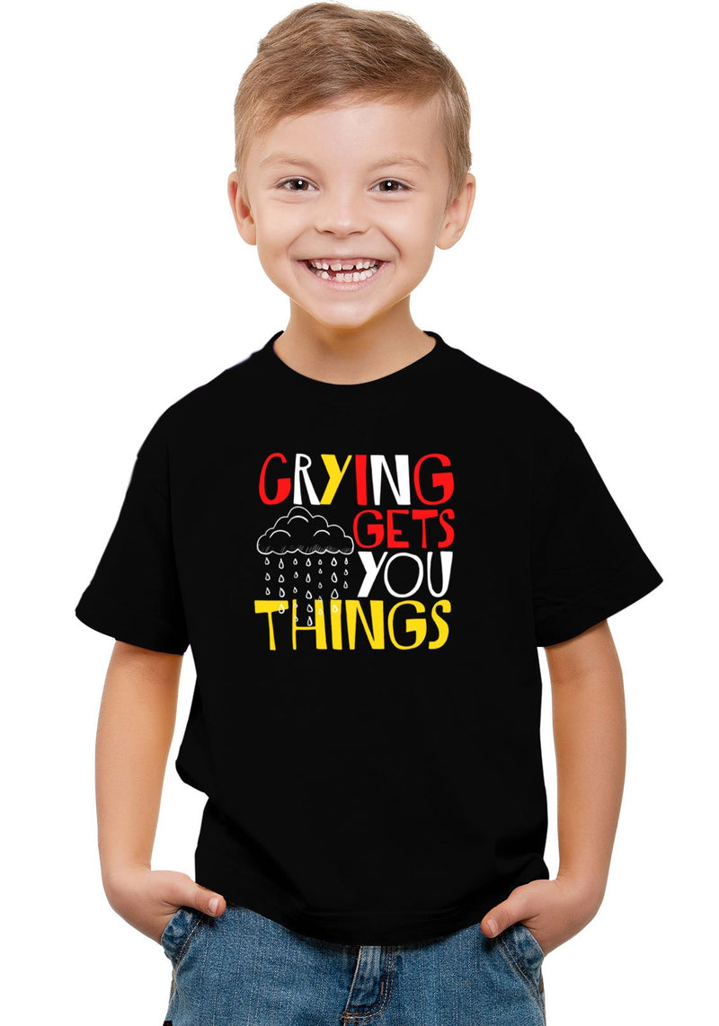 Crying Gets Things Kids T-Shirt Black