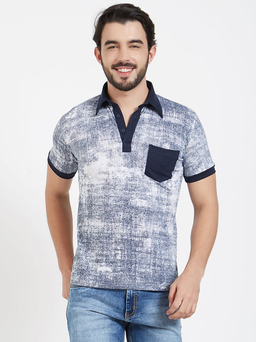 Denim Print Polo T-Shirt
