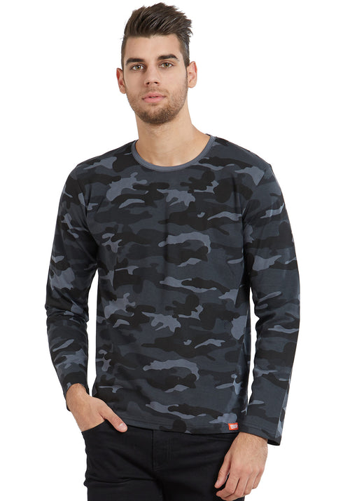 Plain Full Sleeves Tshirt - Grey Camo