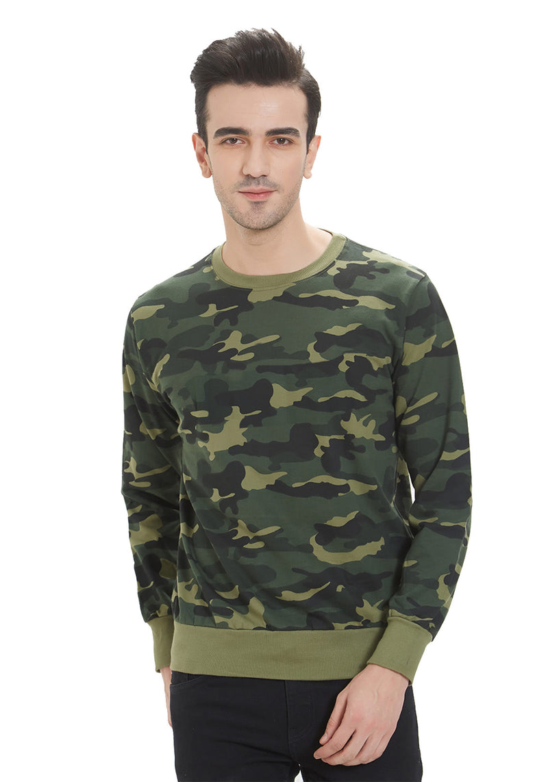 Premium Plain Sweatshirt - Green Camo