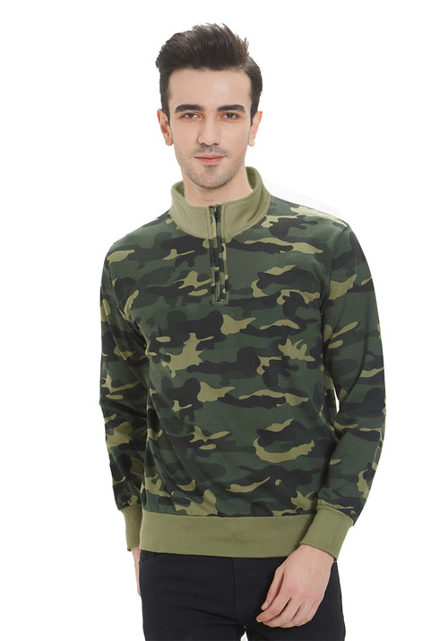 Premium Men's T- Neck Sweatshirt - Green Camo